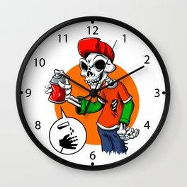 vector skull painting graffiti Wall Clock