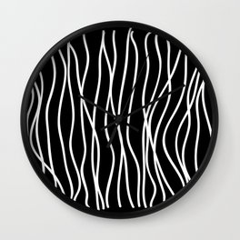 White lines on black background Wall Clock