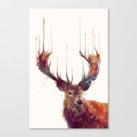watercolor Canvas Prints featuring Red Deer // Stag by Amy Hamilton