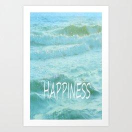 HAPPINESS. Vintage beach Art Print