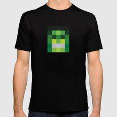 hero pixel green black Black Mens Fitted Tee MEDIUM