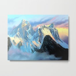 Panoramic Sunrise View Of Everest Mountain Metal Print