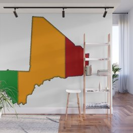 Mali Map with Malian Flag 2 Wall Mural