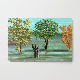 Trees and smok Metal Print
