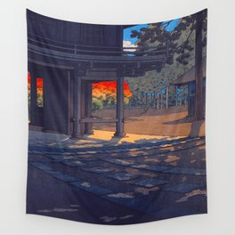 Vintage Japanese Woodblock Print Colorful Fall Trees Shinto Shrine Japanese Architecture Wall Tapestry
