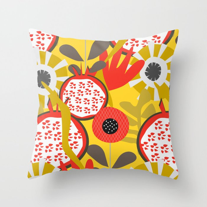 Pomegranates and red flowers Throw Pillow