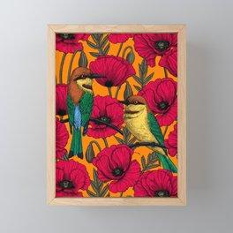 Bee eaters and poppies on orange Framed Mini Art Print