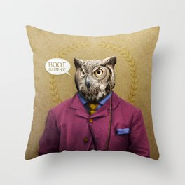"Mr. Owl says: ""HOOT Happens!"" Throw Pillow"