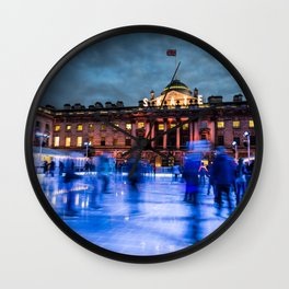 Ice Skating At Somerset House, London Wall Clock