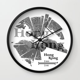 Hong Kong Map Wall Clock