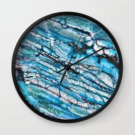 Blue Marble with Black Wall Clock
