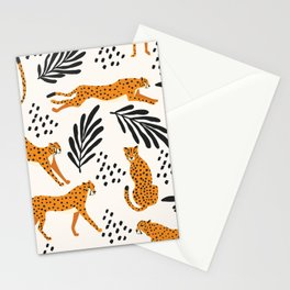 Cheetahs pattern on white Stationery Cards