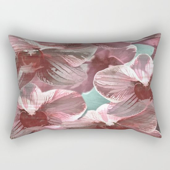 Vintage Pink Orchids Rectangular Pillow