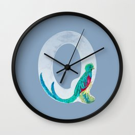 Illustrative Letter Q for Quetzal  Wall Clock
