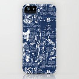 Da Vinci's Anatomy Sketchbook // Regal Blue iPhone Case