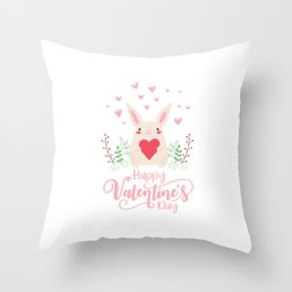 Cute and Adorable Valentine Bunny with a Heart Throw Pillow