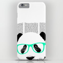 Panda with teal glasses iPhone Case