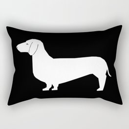 Dachshund silhouette minimal black and white dog lover home decor gifts accessories silhouette Rectangular Pillow