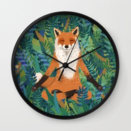 Fox Yoga Wall Clock