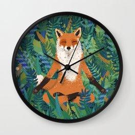 Fox Yoga Wall Clock