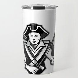 Girl Patriot Lacrosse Player Mascot Travel Mug