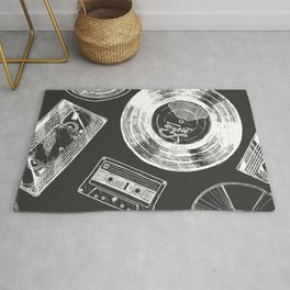 Seamless pattern with Audio and video carriers. Vinyl record, tape reel, compact tape cassette, VHS and compact disc.  Rug