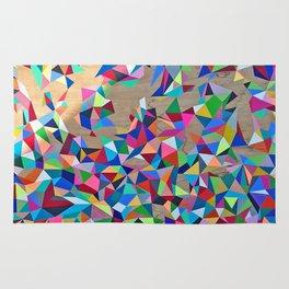 Geometric Rainbow Cluster on Wood Rug