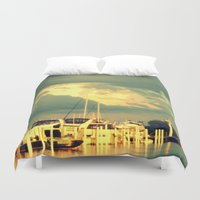 sail Duvet Covers featuring Lets Go For a Boat Ride by 2sweet4words Designs