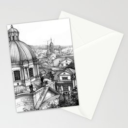 Prague over the rooftops Stationery Cards