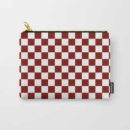 Vintage New England Shaker Barn Red and White Milk Paint Jumbo Square Checker Pattern Carry-All Pouch