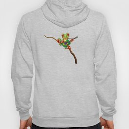 Tree Frog Playing Acoustic Guitar with Flag of Brazil Hoody