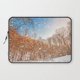 Snow Spattered Winter Forest Laptop Sleeve