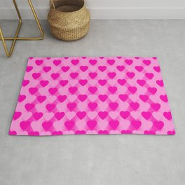 Zigzag of pink hearts staggered on a light background. Rug