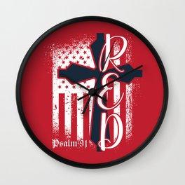 Christian Red Friday Cross Psalm 91 Wall Clock