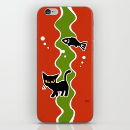 Fish and cat iPhone Skin