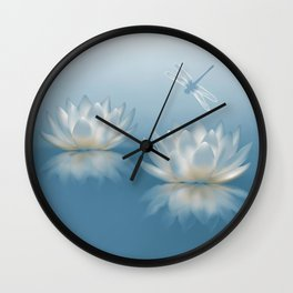 Blue Lotus and Dragonfly Wall Clock