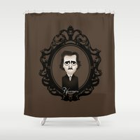 edgar allan poe Shower Curtains featuring Edgar Allan Poe by Designs By Misty Blue (Misty Lemons)
