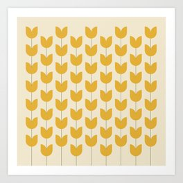 Yellow Tulip Pattern Art Print