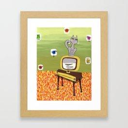 Retro TV and Cat Framed Art Print