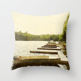 Lily Bay Docks, Maine Throw Pillow