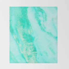 Shimmery Sea Green Turquoise Marble Metallic Throw Blanket