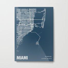 Miami Blueprint Street Map, Miami Colour Map Prints Metal Print