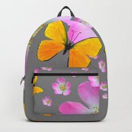 YELLOW BUTTERFLIES & PINK WILD ROSES Backpack