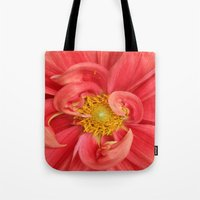 dahlia Tote Bags featuring Dahlia by KunstFabrik_StaticMovement Manu Jobst