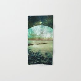 Green Mystic Lake : Fantasy Moon Landscape Hand & Bath Towel