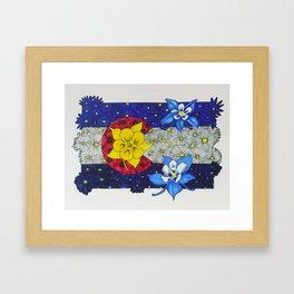 Colorado Columbine Flag Framed Art Print