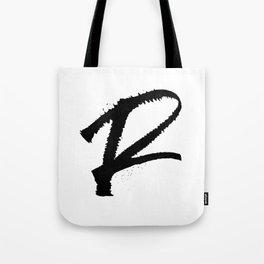 Letter R Ink Monogram Tote Bag