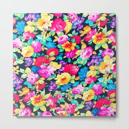 Neon Floral Girly Trendy Pink Teal Fashion Pattern Metal Print