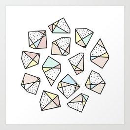 Polygonal stones and gemstones Art Print