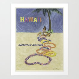 Hawaii American Airlines - Vintage Travel Posters Art Print